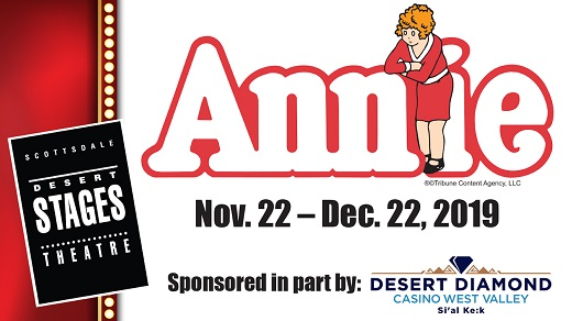 Desert Stages Theatre logo advertising their Annie play.  Annie spelt out in bubble letters with a cartoon girl in a red dress