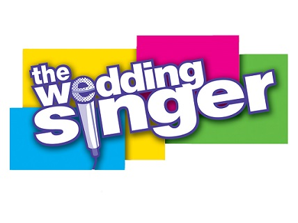 The Wedding Singer lettering with blue, yellow, pink, and green squares in background