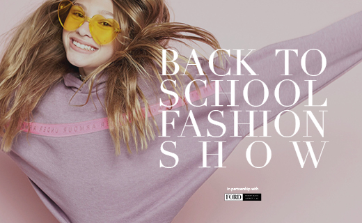 young blonde hair girl wearing heart-shaped sunglasses in yellow back to school fashion show in partnership with Ford Robert Black Agency