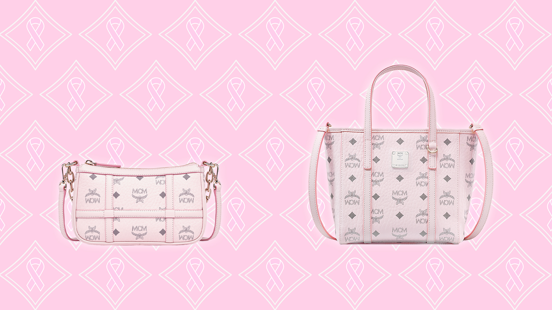 Two pink purses displayed on a pink backdrop.