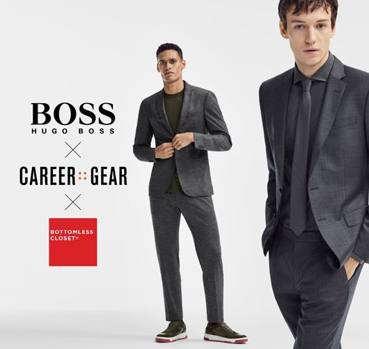 BOSS Hugo BOSS Logo X Career Gear Logo X Bottomless Closet Logo  Two men wearing suits