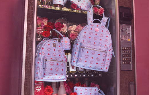 MCM bag in a vending machine with roses