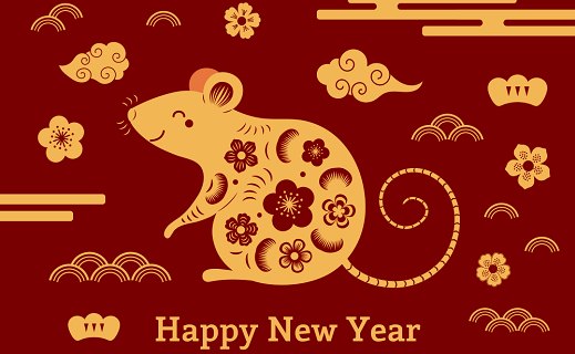 Happy Lunar New Year, rat with flowers