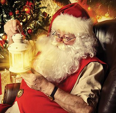Santa holding a lantern
