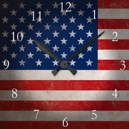 American Flag with Clock overlay