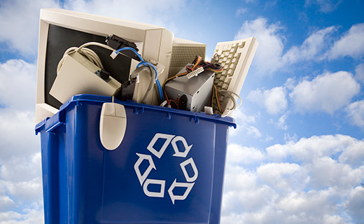 cloud background with electornic waste bin carrying computer to be recycled.