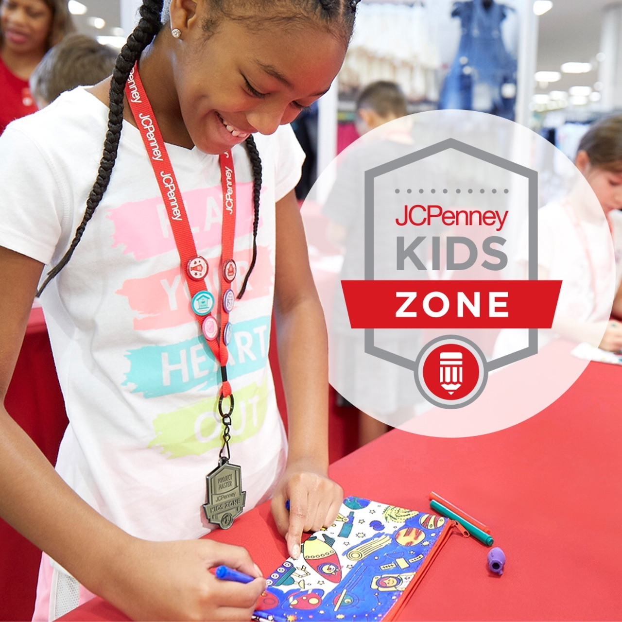 JC Penney Kids Zone. Girl participating in coloring craft.
