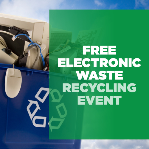 cloud background with electronic waste bin