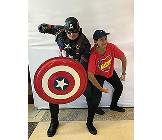 Persephone, Kids Club master of ceremonies with Captain America