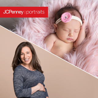 Baby with floral pink and white headband sleeping on a pink blanket and an expectant mom with the JCPenney Portraits logo on the image.
