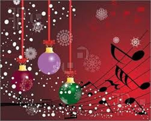 Ornaments, musical notes, snowflakes and sparkling lights