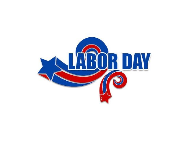 Word Labor Day in red, white and blue.