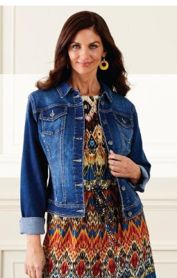 Brown haired woman wearing a denim jacket