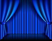 Set of blue stage curtains