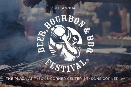 """Text in white that says, """"Beer, Bourbon, & BBQ Festival, The Plaza At Tysons Corner Center, Tysons Corner VA."""" The background picture depicts a large grill with various meats being barbecued."""