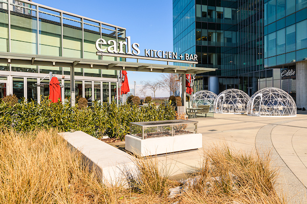 The front of Earl's Kitchen and Bar at Tysons Corner Center with Plaza Igloos out front.