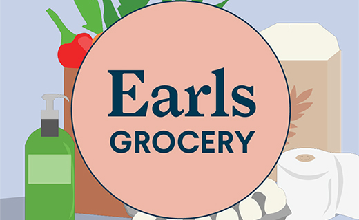 Graphic of groceries behind pink circle with Earls Grocery logo