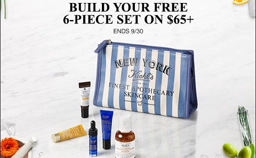 Cosmetic bag with Keihl's products around it