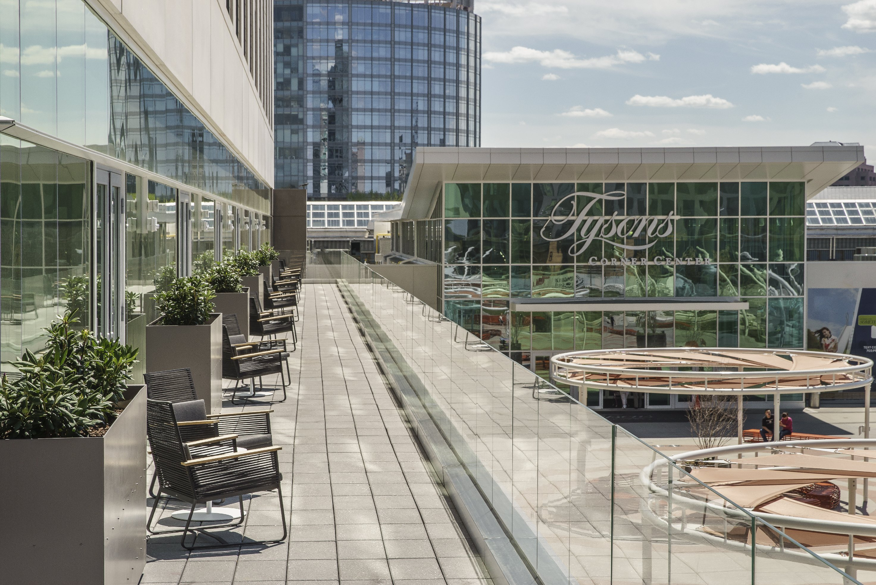 Picture of the patio the Hyatt balcony overlooking the Tysons Corner Center Plaza