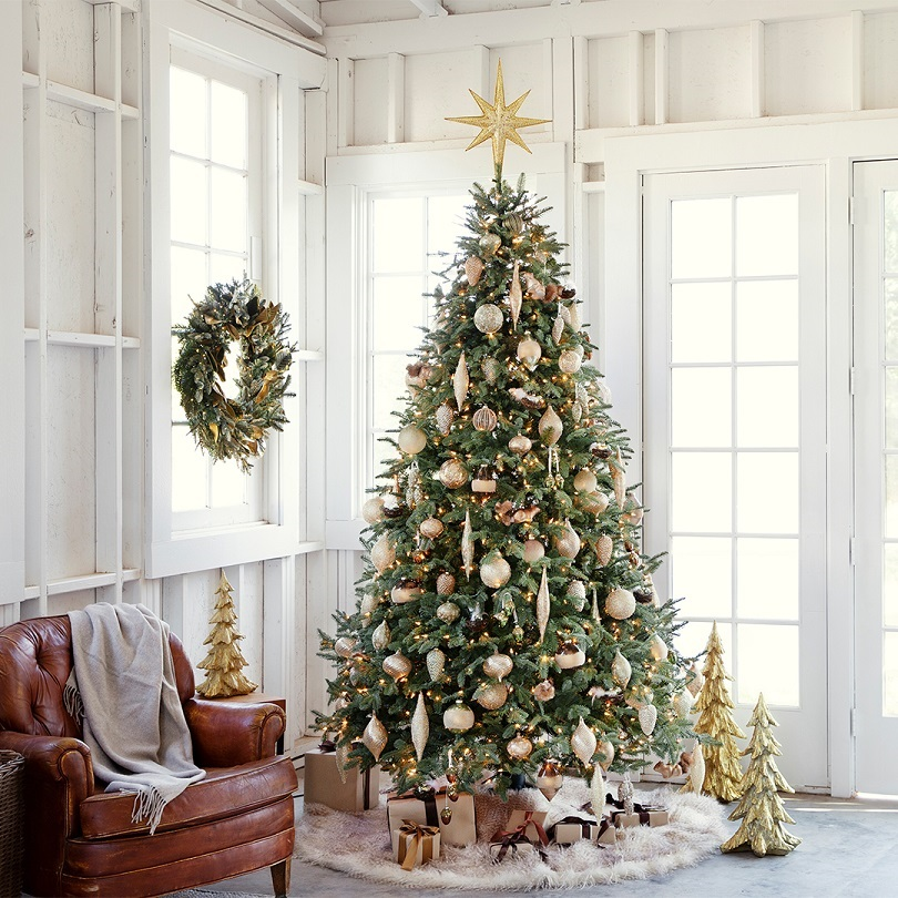 Decorated Christmas tree with presents under it next to a brown leather chair with a grey blanket laying on top of the chair. All of this located in a white room.