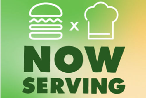 A drawing of a burger and a chef hat with the words Now Serving under it all over a green and yellow background.