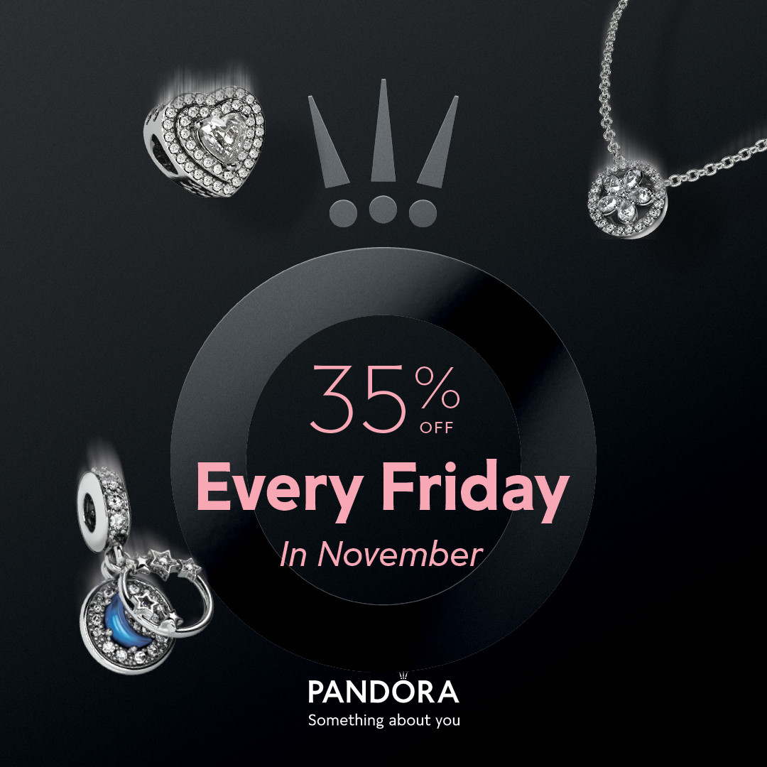 """35% Off Every Friday In November."" Written on the Pandora logo with a black background surrounded by jewlery."