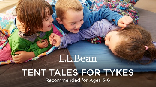 3 kids laying and laughing with text saying L.L. Bean Tent Tales for Tykes ages 3-6