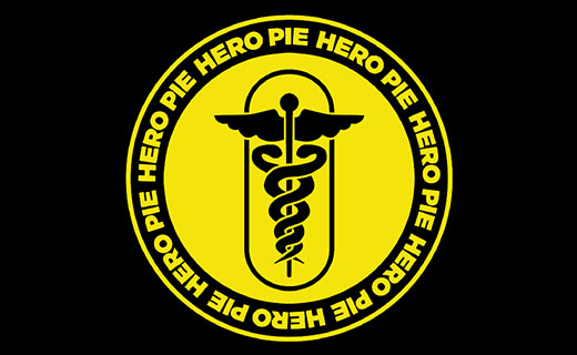 Yellow medical logo/symbol with a banner around it that lists 'hero pie'