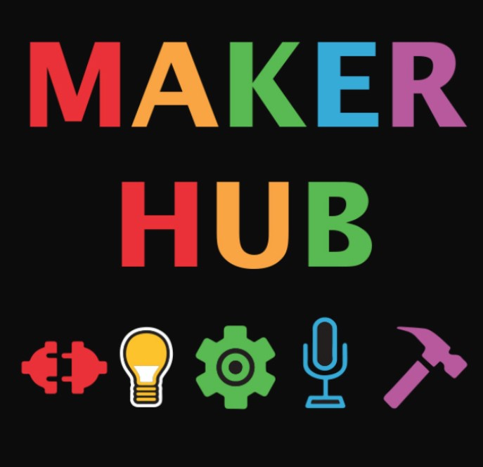 Maker Hub spelled out in rainbow letters with colorful tools at the bottom