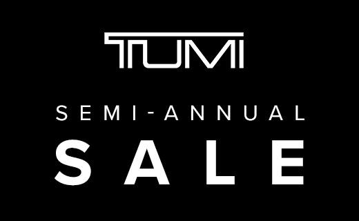 Tumi bag promoting their semi-annual sale