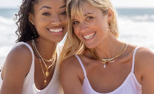 Two women wearing gorjana jewelry