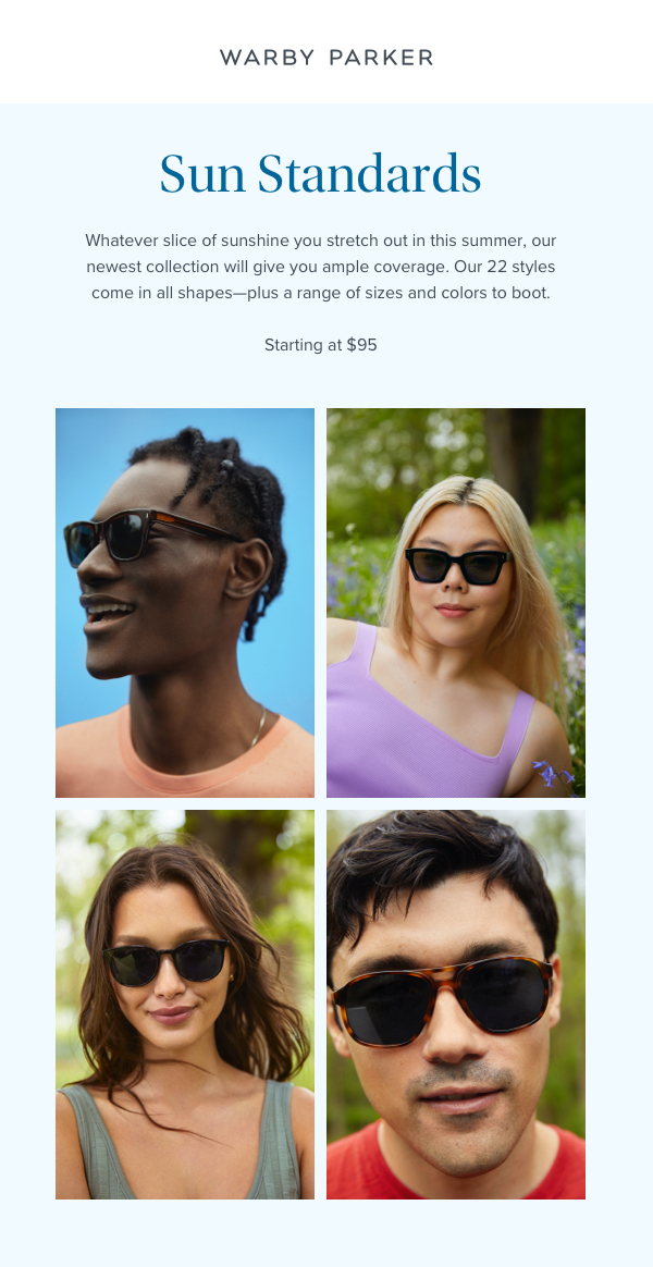 Flyer promoting Warby Parker's Sun Standards collection