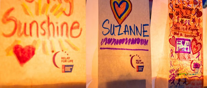 colored bags supporting cancer survivors