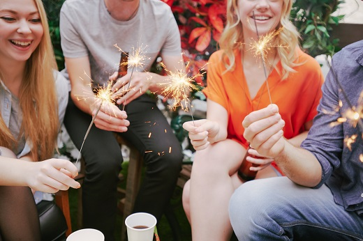 people with sparklers
