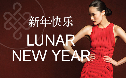 Lunar New Year with Female in Red dress.