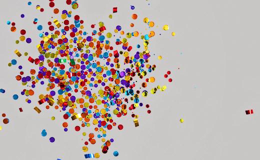 Confetti blowing around