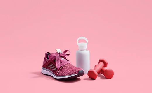 fitness shoe, water bottle and weights
