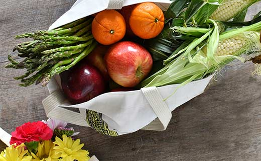 fruit and veggies in a tote