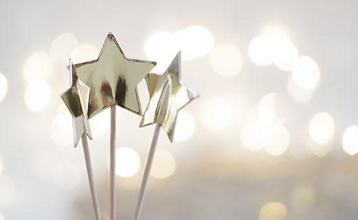 Three silver star wands
