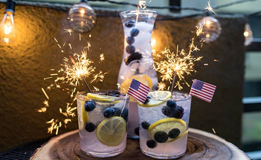 Summer Drinks with patriotic sparklers