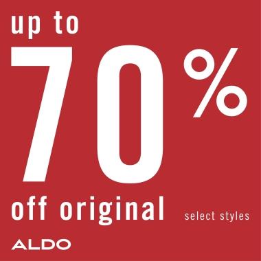 Up to 70% off original select styles. Aldo logo.
