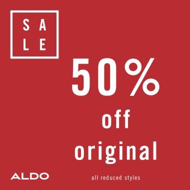 Aldo logo. Sale. 50% off original all reduced styles.