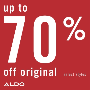Up to 70% off original select styles. Aldo logo.