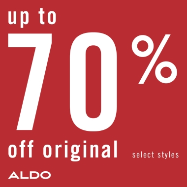 Copy: Up to 70% off original. Select styles. Aldo.