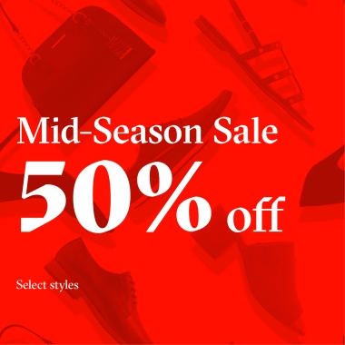 Red image with shoes and a purse shown in background.  Copy: Mid-Season Sale 50% Off Select Styles