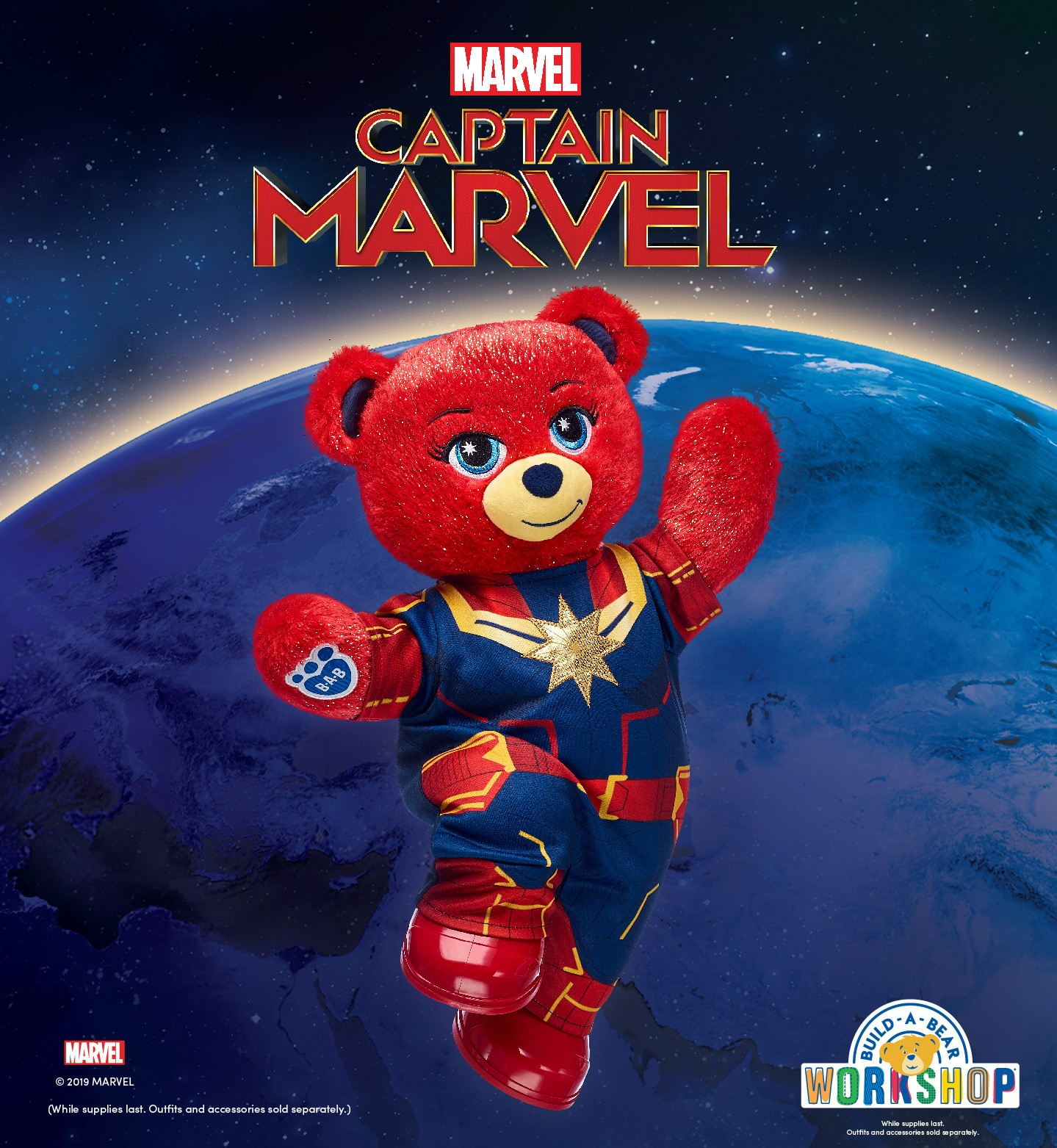 Marvel Captain Marvel, teddy bear dressed as captain marvel. Build A Bear Workshop Logo. While Supplies last. Outfits and accessories sold separately. Marvel logo