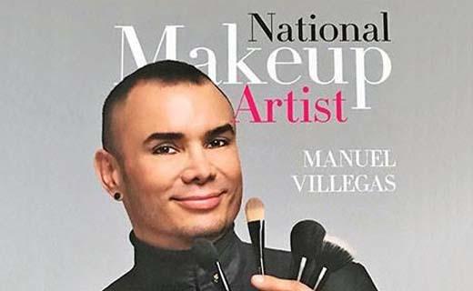 Copy: National Makeup Artist Manuel Villegas. Image Manuel Villegas holding variety of makeup brushes.