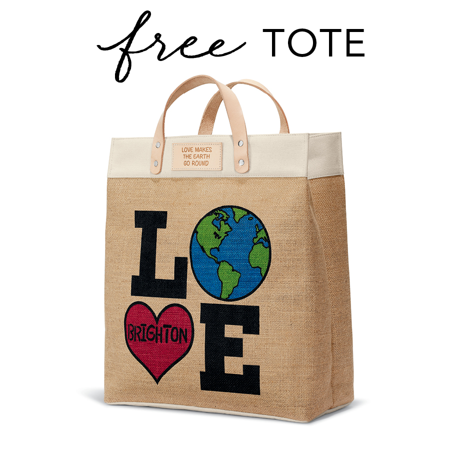 Burlap fabric tote with LOVE on side, tag copy Love Makes the Earth Go Round. Image copy: Free Tote