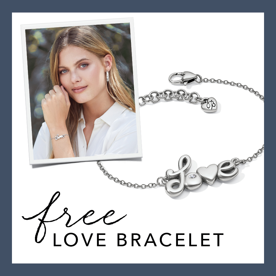 Image: Picture of woman wearing Love bracelet. Love Bracelet shown with text: free LOVE BRACELET