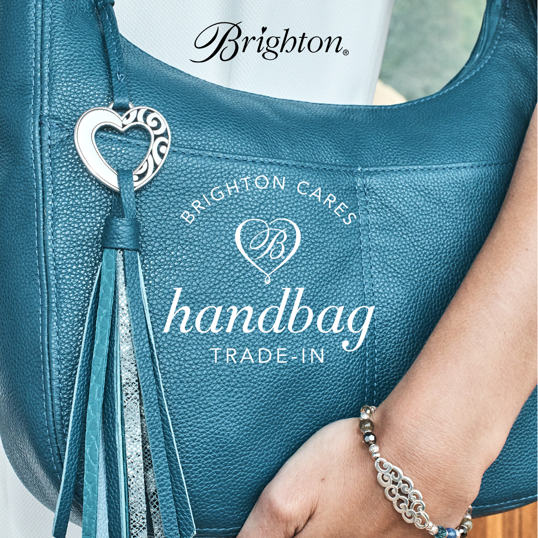 Brighton logo. Shown handbag with heart tassle, arm shown with silver beaded bracelet. Copy: Brighton Cares Circle B handbag trade in